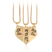 Mother and Daughters 3-Piece Puzzle Heart Necklace Set
