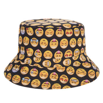Emoji Collage Adult Unisex Black Casual Summer Beach Flat Bucket Hat