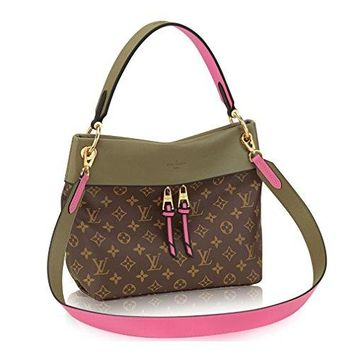 LV Women Shopping Leather Tote Louis Vuitton Monogram Canvas Tuileries Besace Shoulder Cross Handbag Khaki Article:M43159