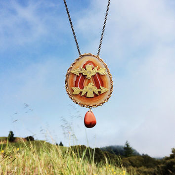 SALE! Save 20% Thunderbird & Arrow Statement Necklace. Red Agate Agate Slice Geode  Carnelian Southwestern Talisman