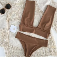 Crochet Strap Solid Color Beach Bikini Set Swimsuit Swimwear