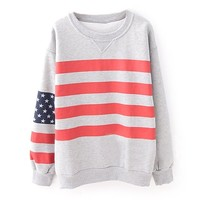 ZLYC Women Teen Girls Fashion US Flag Stars Striped Casual Sweatshirt Pullover