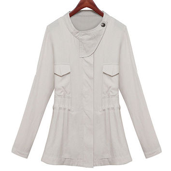 Beige Double Pocket Long Sleeve Coat