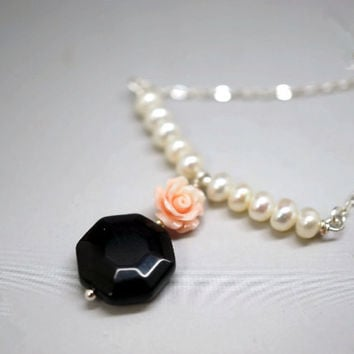 Obsidian Necklace  - Genuine Freshwater Pearl Necklace - Coral Rose Flower Necklace - Faceted Octangle Rainbow Obsidian Pendant Gift For HER
