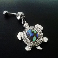 Abalone silver plated turtle 14 gauge stainless steel belly navel ring, body jewelry, 14g
