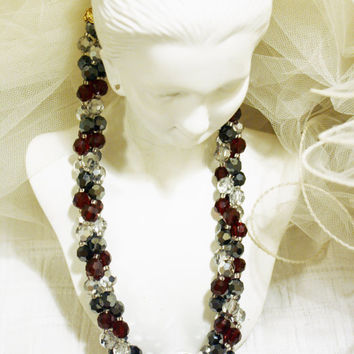 Vintage Crystal Beaded Necklace Matching Earrings Art Deco Faceted Garnet Red Crystal Glass Bead Triple Strand Necklace