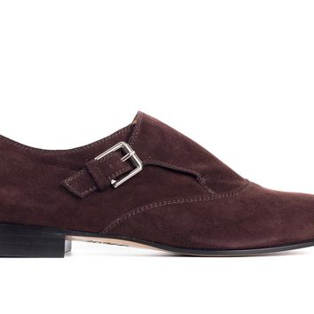 Gianvito Rossi Brown Suede Almond Toe Monk Strap Shoes