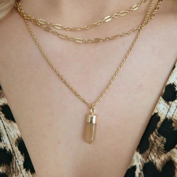 No Choice Necklace: Gold/Taupe