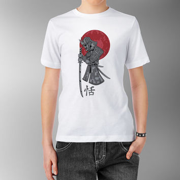 Samurai with Sword Katana Japanese Red Sun China Asian Traditional Kanji White 100% cotton T shirt t-shirt tee Digital Print