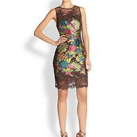 Sleeveless Illusion Brocade Dress