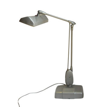 Mid Century Desk Lamp Machine Age Lamp Industrial Lamp Industrial Lighting Fluorescent Lamp Drafting Lamp Silver Lamp Adjustable Lamp Table
