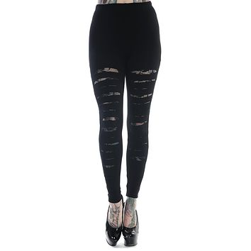 Rockabilly Gothic Cut up - Cut Out Sexy Ripped Look Black Leggings