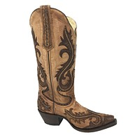 Corral Women's Brown Overlay and Studs Snip Toe Boots G1403