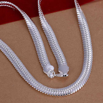 silver plated Chain 1 M Flat Snake Necklaces Pendants Men jewelry 2 9 MP