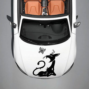 ANIMAL CAT AND BUTTERFLY DESIGN HOOD CAR VINYL STICKER DECALS ART MURALS SV1396