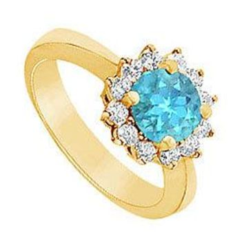 Blue Topaz and Diamond Ring : 14K Yellow Gold - 1.50 CT TGW