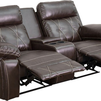 Series 2-Seat Reclining Brown Theater Seating Unit