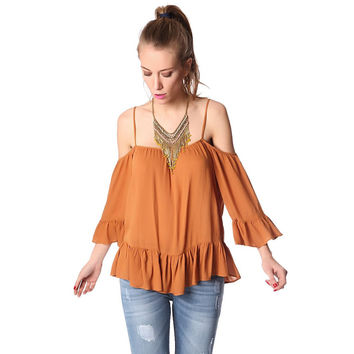 Cold shoulder top with frill trims in mustard