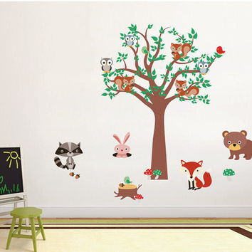 kcik1663 Full Color Wall decal bedroom children's room decor Custom Baby Nursery on bed baby tree nusery decal tree forest animals