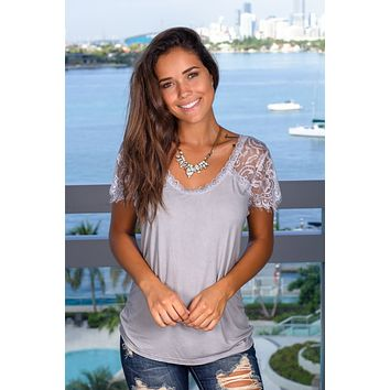 Light Gray Top with Lace Sleeves