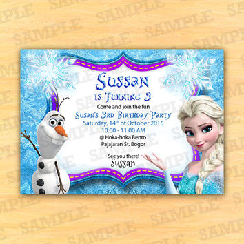 Personalized frozen birthday invitations, Frozen Birthday Invitations, Custom Frozen Invitation For Girls Birthday Party, Party Instant