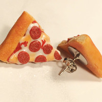 Pepperoni Pizza Slice Polymer Clay Stud/Post Earrings