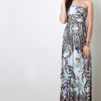 Women's Paisley Floral Strapless Maxi Dress
