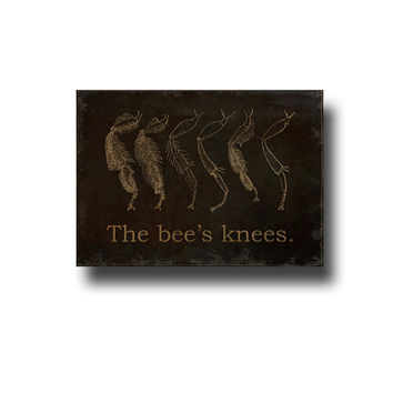 The Bee's Knees, Mini Canvas Sign, Rustic Farmhouse Decor, Antique Style Typography, Small Distressed Wall Art, Black & Tan
