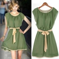 New Womens Elegant Army Green Solid Color Sleeveless Chiffon Mini Dress #8054