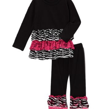 Black & Pink Zebra Lace Pant & Top Set