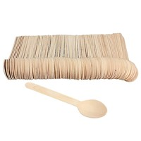 Eco-friendly 100pcs Disposable Wooden Spoon Tableware Bamboo scoop Coffee honey tea spoon BBQ Tableware Tools