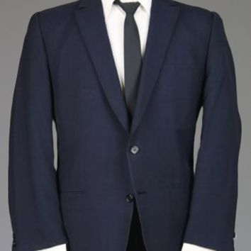 Vtg 60s Dark Navy Wool Check/Plaid Dual Vent Trad Ivy Blazer/Sportcoat 42 S 1968 Monkey Suit