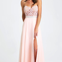 Strapless Long Chiffon Dress by Madison James