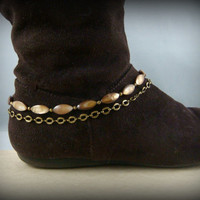 Boot Bling ~ Bracelets for Boots ~ Boot Bracelet ~ Boot Jewelry - Ivory and Crystal Boot Bracelet