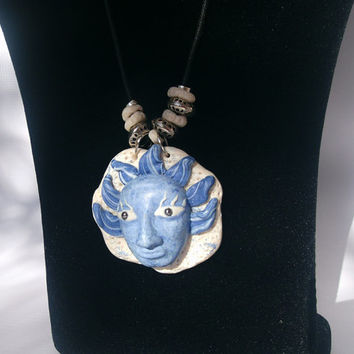One of a kind face pendant, Hand sculpted unique pendant, unisex handmade gift, one-of-a-kind jewelry