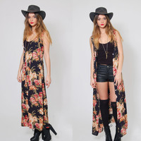 Vintage 90s FLORAL Print Maxi Dress Boho REVIVAL Black Sheer Duster Grunge Floral Kimono