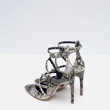 PRINTED WRAPAROUND HIGH HEELED SHOES