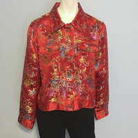 Vintage Asian Inspired Patterned Jacket Structured Jacket Red with Floral Embroidery Size Large Spenser Jeremy Shiny 1990's Coat