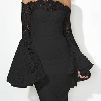 Black Floral Lace Off Shoulder Backless Flare Sleeve Bodycon Elegant Party Midi Dress