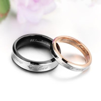 "Men's Stainless Steel "" Forever Love "" Engagement Promise Ring Couples Wedding Band"