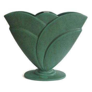 Large Royal Haeger Vase Fan Shape 1940's Gladiola Vase Green Ceramic Vase Vintage Pottery