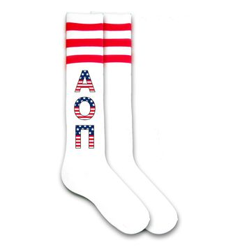 Alpha Omicron Pi- American Flag Letters Sorority Knee Highs