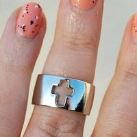 Silver Above Knuckle Cross Ring, Cut Out Cross Band from Black Tied