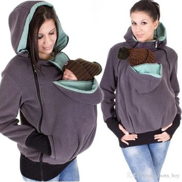 Newest Baby Carrying Jacket Baby Carrier Hoodie Kangaroo Coat&Jacket for Mom and Baby Wearing Hoodie Maternity Sweater