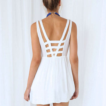 White Strappy Sleeveless Sheath A-line Pleated Mini Dress