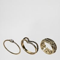 ASOS CURVE Exclusive Pack of 3 Festival Floral Ring Pack at asos.com