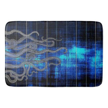 Nautical Blue Ink Octopus Tentacles Bath Mat
