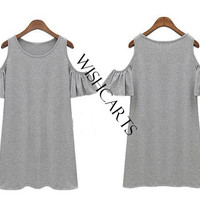 Women Butterfly Sleeve Cotton Cute Strap off Shoulder Vest dress plus size SV001731 = 1646018948