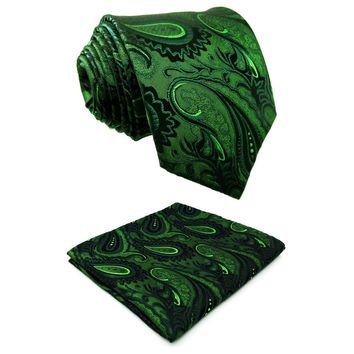 U30 Extra long size Paisley Floral Dark Green Black Mens Neckties Ties 100% Silk Matching Hanky Jacquard Woven Brand New Fashion