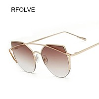 Fashion Women Cat Eye Sunglasses Classic Brand Designer Twin-Beams Rose Gold Frame Sun Glasses for Women UV400  glasses RF8910